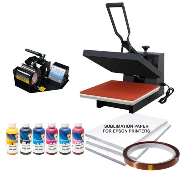 15x15 Sublimation heat press Printed combo with 6 color Ink