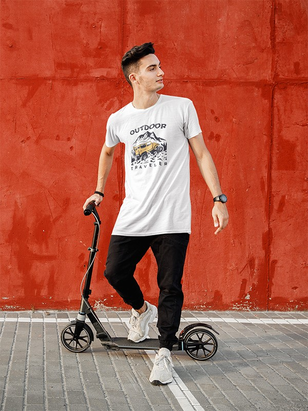 OUTDOOR WHITE PRINTED TSHIRT
