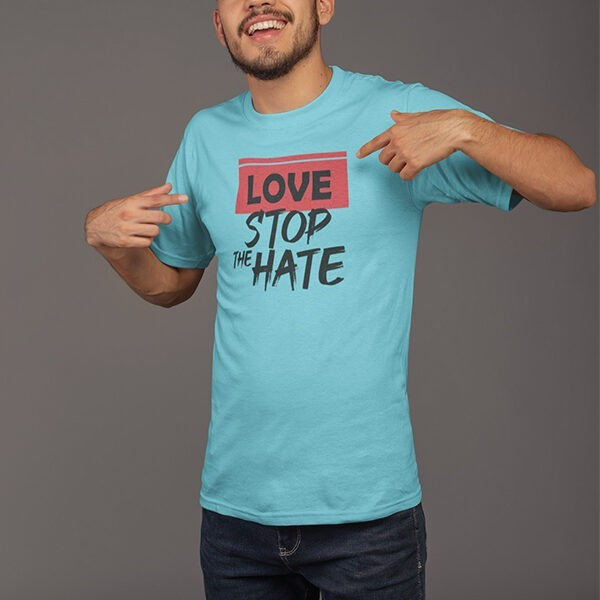 LOVE STOP THE HATE BLUE TSHIRT