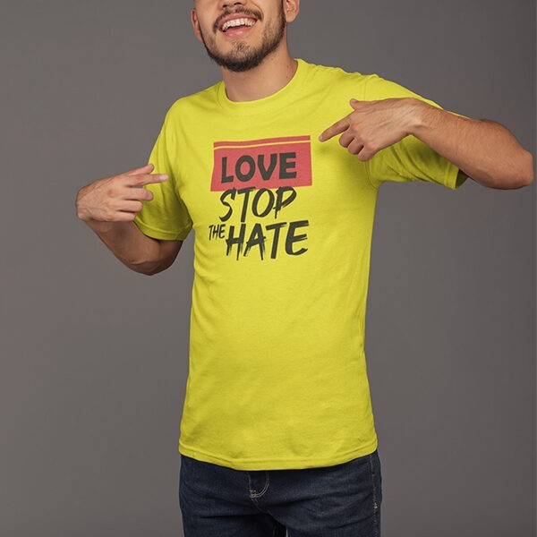 LOVE STOP THE HATE YELLOW TSHIRT