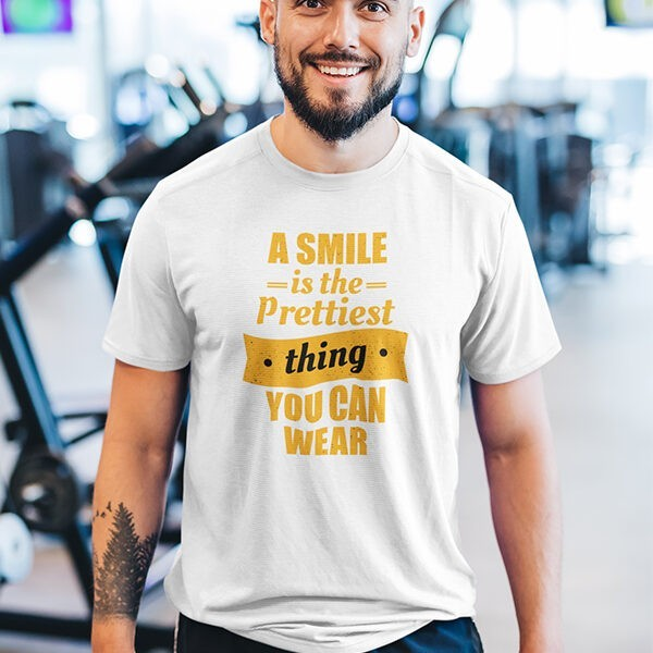 A SMILE IS THE PRETTIEST THING YOU CAN WEAR WHITE TSHIRT
