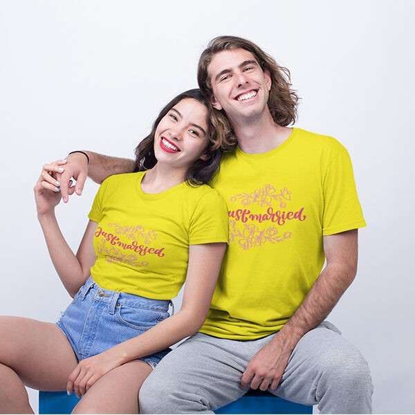 JUST MARRIED DESIGN YELLOW TSHIRT