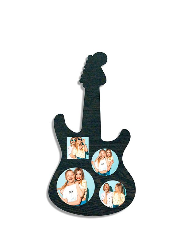 Guitar Shape Wooden Photo Frame for Wall
